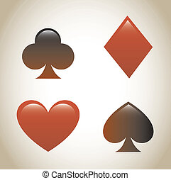 playing cards symbols - paying cards symbols over beige...