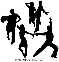 Latino Dance Silhouettes 04 - detailed illustrations
