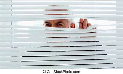 Businessman spying through blinds and getting caught by...