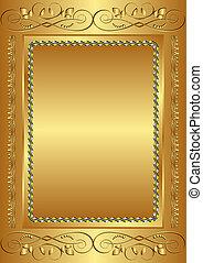 golden background with vintage frame