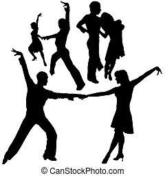 Latino Dance Silhouettes 06 - detailed illustrations