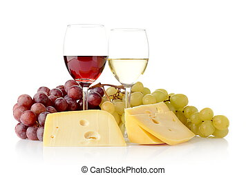 Wine and grapes isolated on white with cheese - Red and...