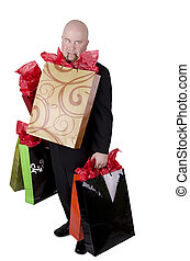 Man with shopping bags, isolated on white background.