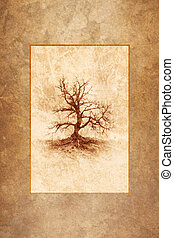 Lonely Winter Tree - Leafless winter tree rendered as...