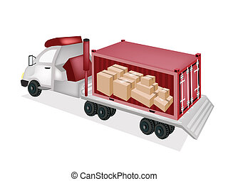 Flatbed Trailer Loading Paper Boxes in Cargo Container - A...