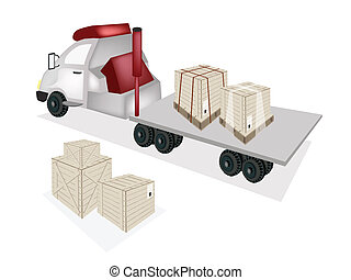 A Tractor Trailer Flatbed Loading Wooden Crates - A Group of...