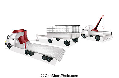 Flatbed Trailer with Utility Trailer and Tow Truck - A...