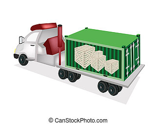 Flatbed Trailer Loading Wooden Crates in Cargo Container - A...