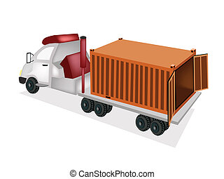 A Flatbed Trailer Delivering A Cargo Container - An Orange...
