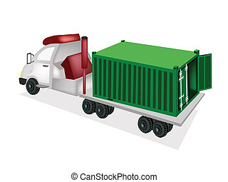 A Container Truck Delivering A Cargo Container - A Green...