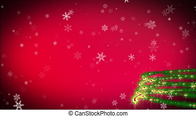Christmas tree red background with snowfall