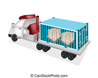 A Semi-Trailer Loading Wooden Crates in Cargo Container