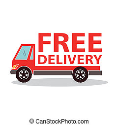 Free delivery  over white background vector illustration