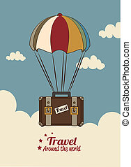 travel arround the world over sky background vecor...