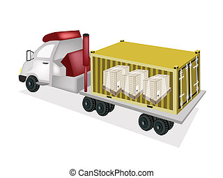 A Trailer Loading Wooden Crates in Cargo Container - A...