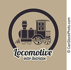 locomotive design over beige background vector illustration