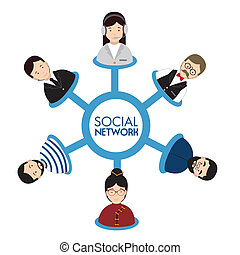 social network design over white background vector...