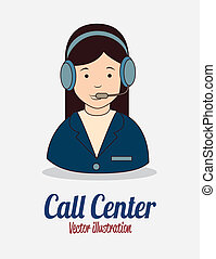 receptionist with phone over white background vector...