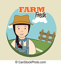 farm fresh label over landscape background vector...