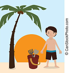boy cartoons - boy cartoon over summer landscape vector...