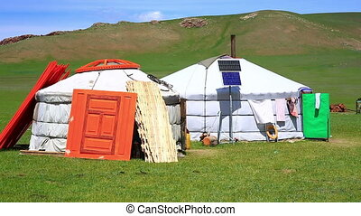Mongolian ger camps with solar power and TV satellite,...