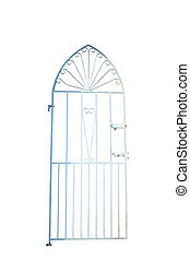 iron gate - a white wrought iron gate with clipping path