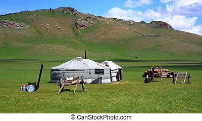Mongolian ger camps with solar power