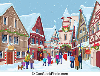 Christmas shopping street - Christmas shopping street at...