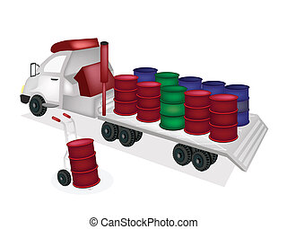 Hand Truck Loading Oil Barrels into Tractor Trailer Flatbed...