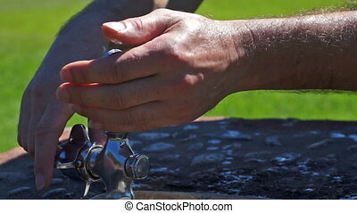 Washing Hands in the Drinking Fount