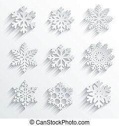 Snowflakes shape vector icon set Creative snow design