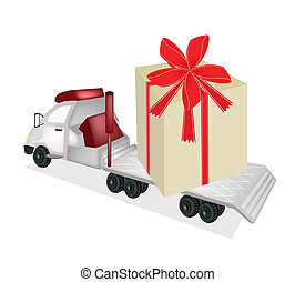Tractor Trailer Flatbed Loading A Giant Gift Box - A Flatbed...
