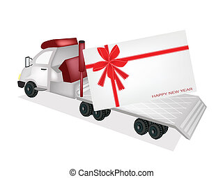 Tractor Trailer Flatbed Sending A New Year Card - A Flatbed...