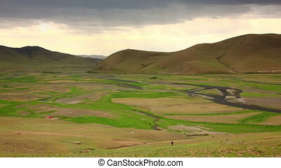 View of Orkhon Valley, Karakorum, Mongolia. You see an empty...