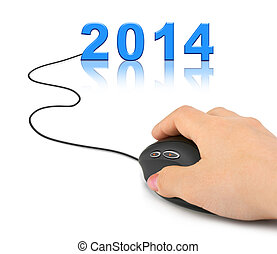Hand with computer mouse and 2014 - new year concept