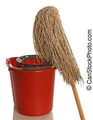 mop and bucket - string mop and red bucket isolated on white...