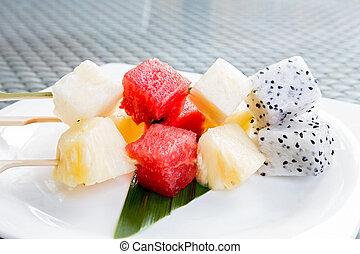 frutas, palo