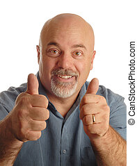 man with thumbs up - middle age bald man giving thumbs up...