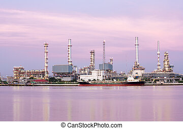 Oil refinery plant along river