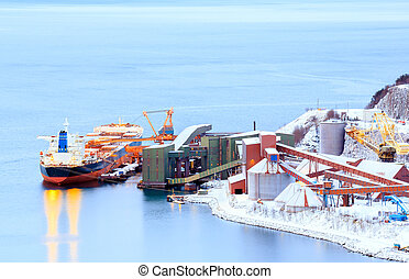 freight ship at mine factory - Industrial Container Cargo...