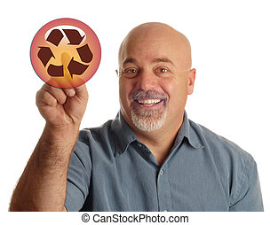 choosing to recycle - bald man pointing at icon indicating...