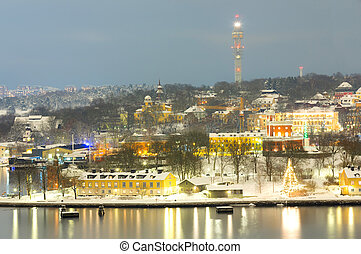 Stockholm Cityscape night - Aerial view of Stockholm...