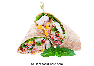 Chicken wrap - Healthy whole wheat chicken wrap on a white...