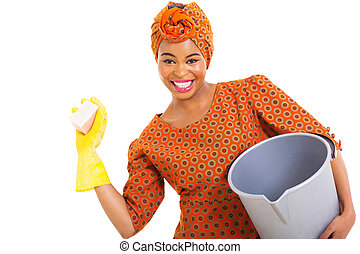 young african woman cleaning
