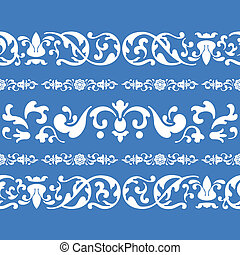 folklore ornament pattern - seamless blue folklore ornament...