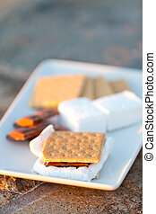 smores and its ingredients on the plate