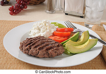 High protein diet meal - A low carb diet meal with a grilled...