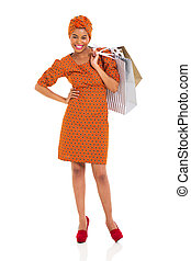 young black woman with shopping bags - attractive young...
