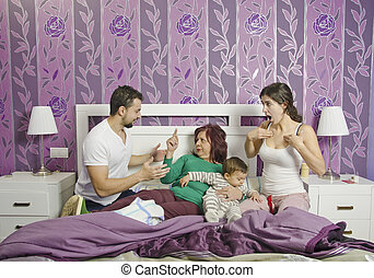 The mother in law - Mother in law in home bedroom, Couple...