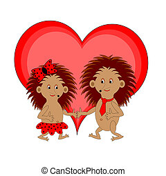 A couple of funny cartoon hedgehogs with a red heart....